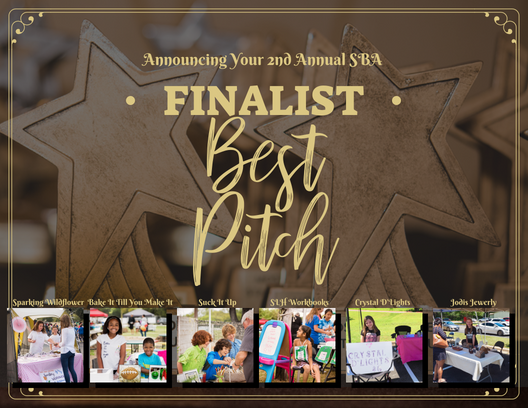 The top three 2018 Small Business Award Finalist in the category of Best Pitch are: Sparking Wildflower, Bake It Till You Make It, Suck it Up, SLH Workbooks, Crystal D'Lights, and Jodis Jewelry.   Other Nominees Included: Sugar Sugar Bling Bling, Otter Slime, Jacob's Lemonade, Bark-A-Lot, JoyMark, Art Explosion, and the Amazing Ace
