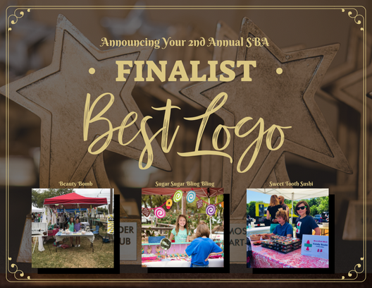 The top three 2018 Small Business Award Finalist in the category of Best Logo Design are  Beauty Bomb, Sugar Sugar Bling Bling, and Sweet Tooth Sushi.   Other Nominees Included: The Amazing Ace, Bake it Till You Make It, Block Printing the Future, JoyMark, Otter Slime, Sparking Wildflower, Suck it Up, and Super Soap