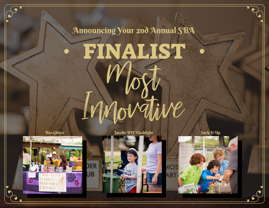 The top three 2018 Small Business Award Finalist in the category of Most Innovative are: Bio Glitter, Jacob's DIY Flashlight, and Suck it Up.   Other Nominees Include: Crystal D'Lights, Sweet Tooth Sushi, Art Explosion and Thunderdome