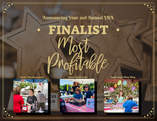 The top three 2018 Small Business Award Finalist in the category of Most Profitable are: Giada's Pet Accessories, Sweet Tooth Sushi, and Sugar Sugar Bling Bling.