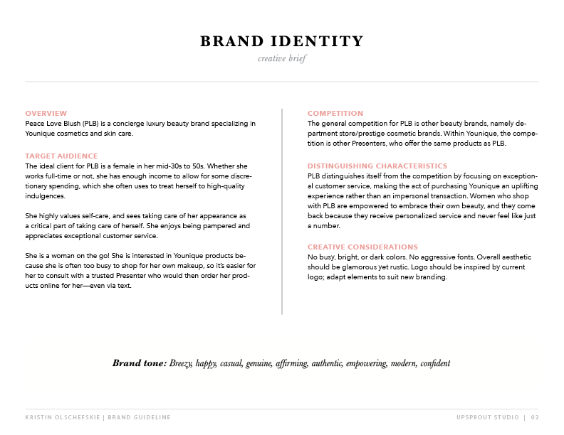 The brand creative brief for one of my clients