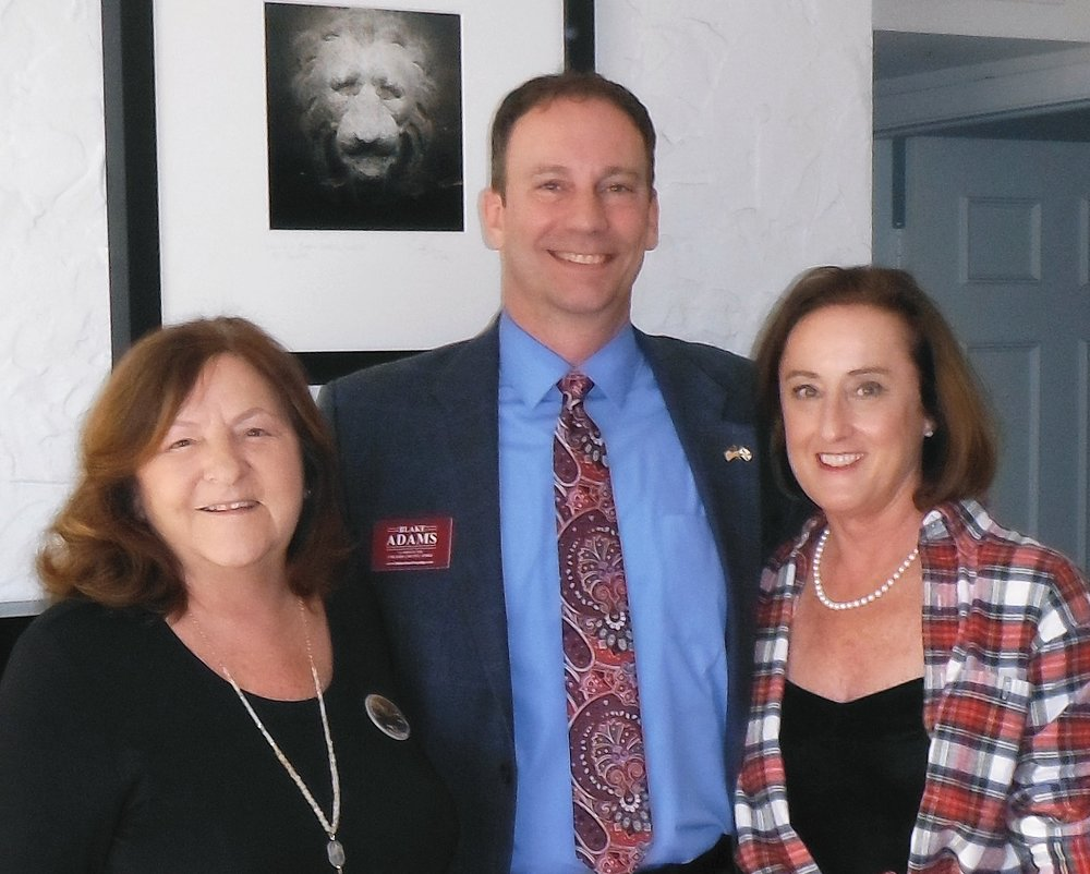 Pictured with Blake (from left to right) are Connie Kelley, Esquire, and Karen Beavin, Esquire. Ms. Kelley and Ms. Beavin hosted a Meet & Greet for the Campaign to Elect Blake Adams for Collier County Judge on March 20, 2018, at Ms. Beavin's home.
