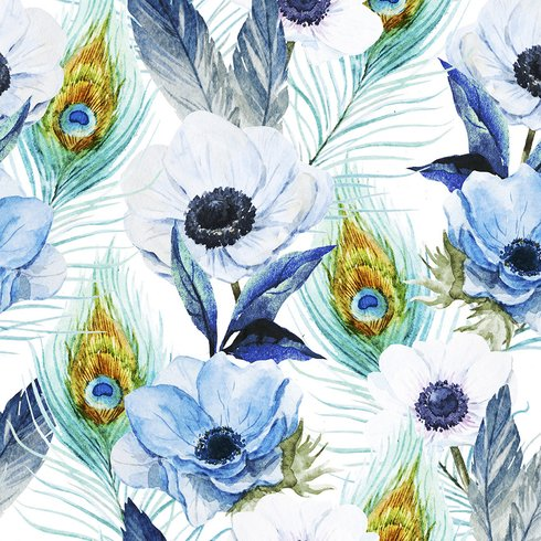 Poppies and Peacocks Wallpaper Available Via Wayfair