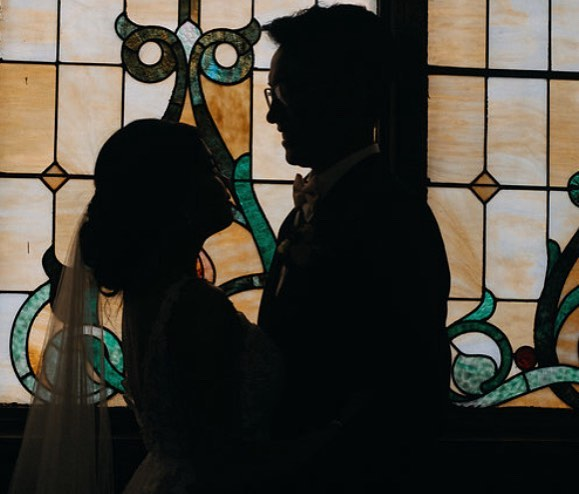 Can you really go wrong with stained glass though? . . . . #calgary #calgaryweddingphotographer #calgarywedding #calgaryphotographer #weddingphotographer #theknot #bridetobe #newlyweds #weddinginspo