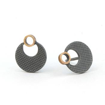 Textured stud earrings oxidised