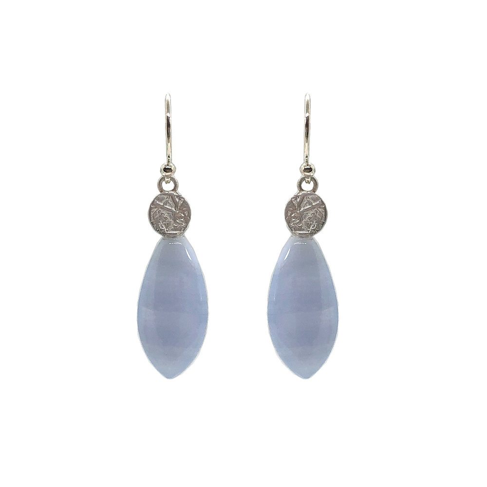 Sterling silver and lace agate earrings