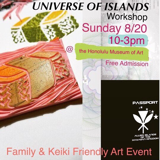 Heluma is hosting another 'Universe of Islands' workshop at  the Honolulu Museum of Art on 8/20 10-3pm as part of the 'Won't You Be My Neighbor' Family Sunday Event sponsored by Bank of Hawaii. For more event info: http://bit.ly/2wROnka More about Helumoa: website link in bio . Block print by @marysoladamo . . #helumoa #helumoaart #helumoaartcollective #hawaiiart #hawaiiartists #hawaiiartistscollaboration #communityoutreach #artcollaboration #artistsofhawaii #honoluluart #art #artistsofinstagram #keikievent #keikifriendly #contemporaryart #islandlife #808art #workshoplife #stamps #printmaking #localart #universeofislandsworkshop #honolulumuseumofart #familysunday #familyevents #familyeventshawaii #ohana