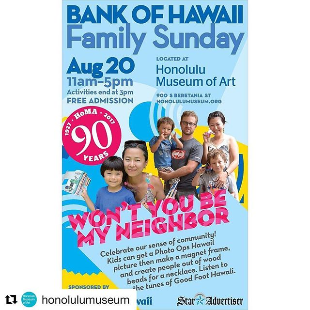 "Helumoa's 'Universe of Islands' happening now at this event! #Repost @honolulumuseum ・・・ @bankofhawaii Family Sunday is on! Mr Rogers' message of neighborliness is more important than ever! Now through 3pm, kids can create a ""village"" necklace by painting people on beads, and work with artist collective @helumoa to create a zine. Kids can also get their photo taken by @photoopshawaii! Cause we want to be a good neighbor! #sundayfunday #arteducation #goodneighbor"