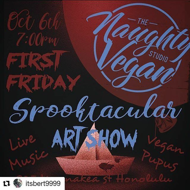 Helumoa members, Eric Cyganik Morgan @ecm_vision and Marysol A. Damo @marysoladamo will be featured in a group show at the Naughty Vegan on Oct 6!  #tattoo  #tattooshop #naughty #vegan #naughtyvegan #Halloween #artshow #madeinhawaii