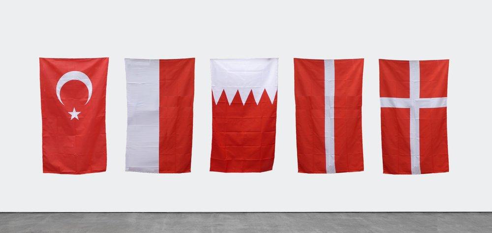 Turkey, Monaco, Bahrain, Latvia, Denmark, 2018-19 / From Problemet med nationalisme / 15 fabric flags each 90 cm x 180 cm