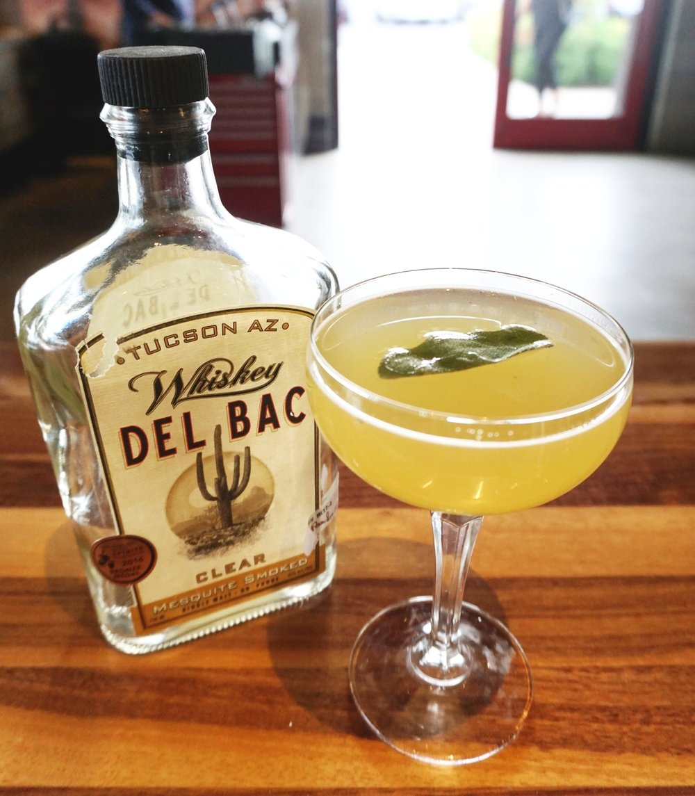 COCKTAIL RECIPE:The Spirited Sage - Created by Teena Dare1.5 oz Whiskey Del Bac- Clear2 muddled sage leaves.75 oz fresh lemon juice.5 oz honey syrup.5 oz Licor 43.25 oz Green Chartreuse