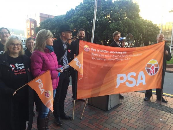 PSA Organiser Nick Kelly speaks at the Wellington Railway Station action