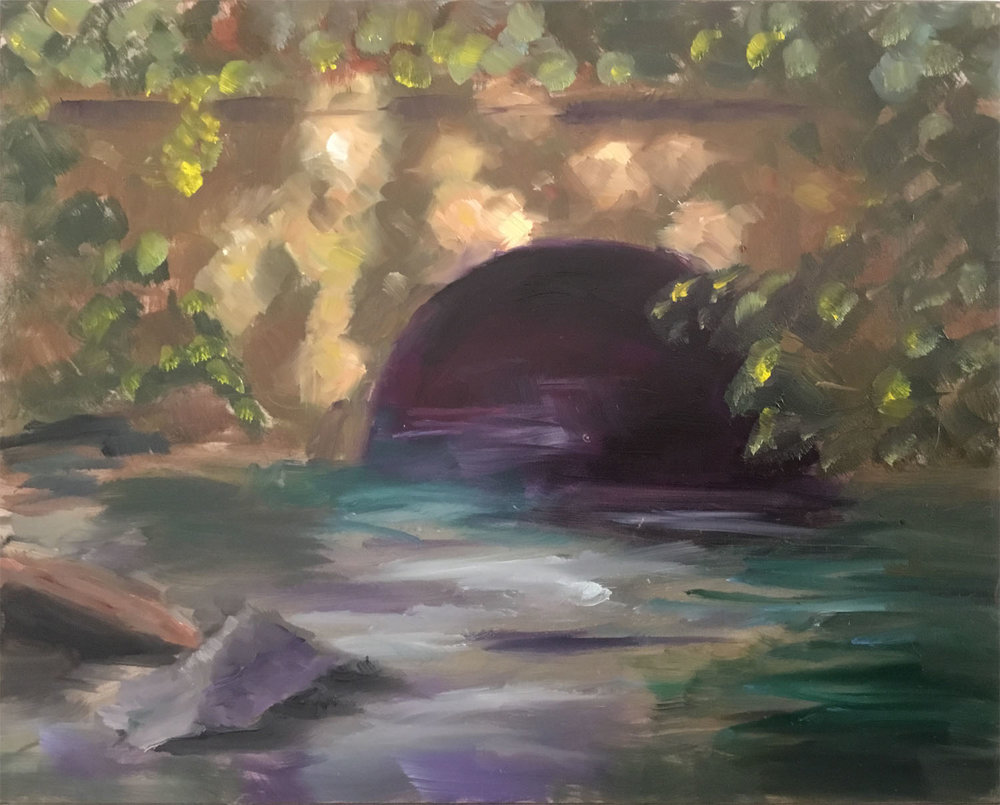 "Geoff Watson, ""Old Bridge at Glen Echo Park,"" oil on panel, 8"" x 10"", 2017."