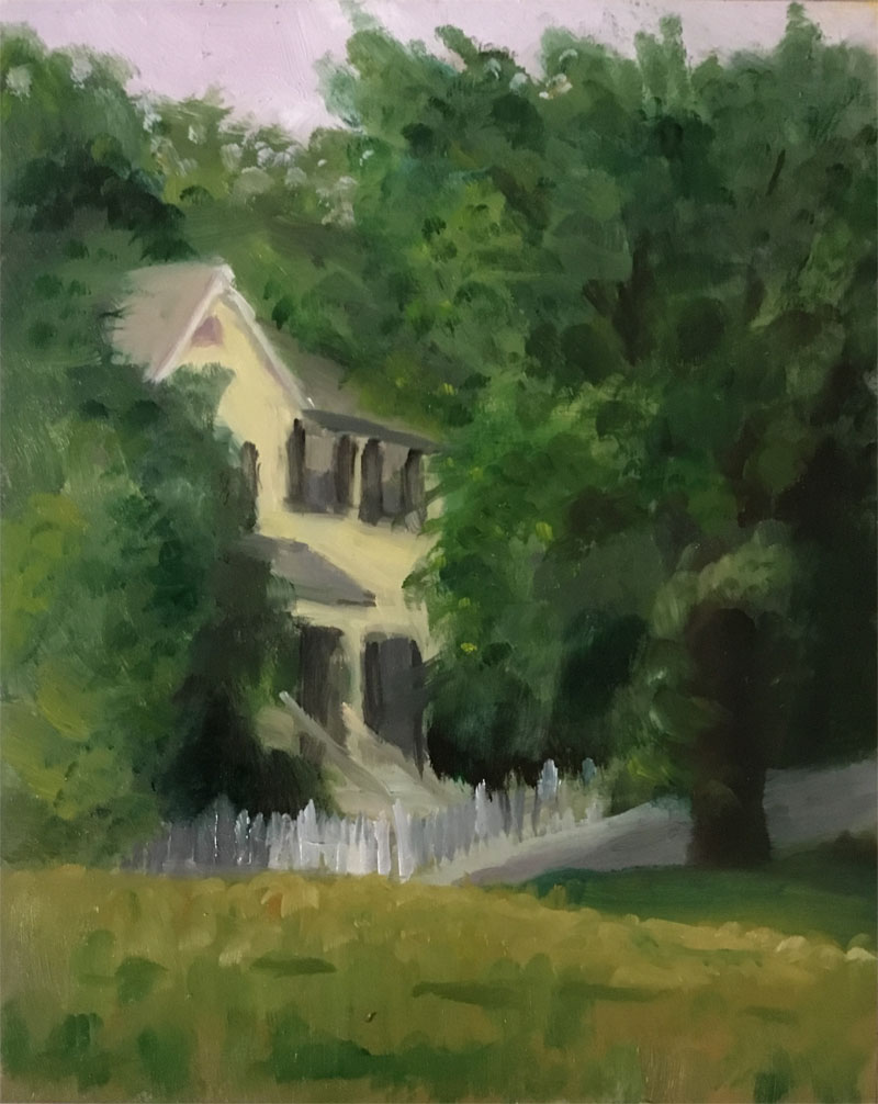 "House shrouded in trees. Oil on panel, 8"" x 10"", 2017."