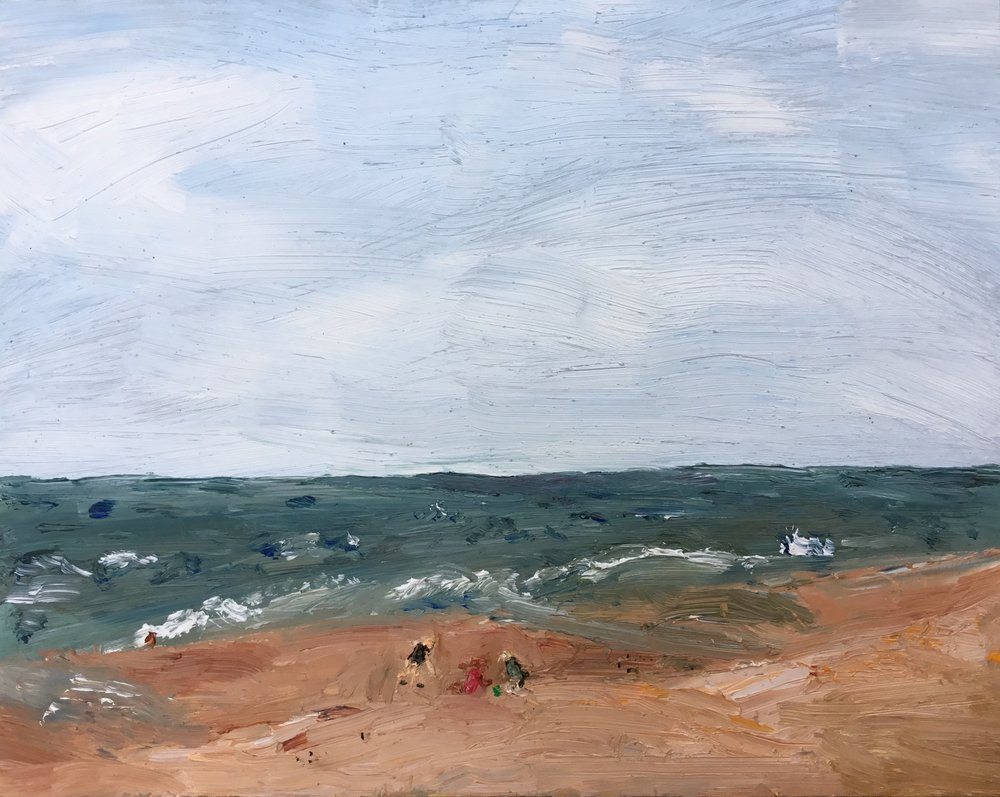 "Maddie Watson, ""Windy beach"", oil on panel, 8"" x 10""."