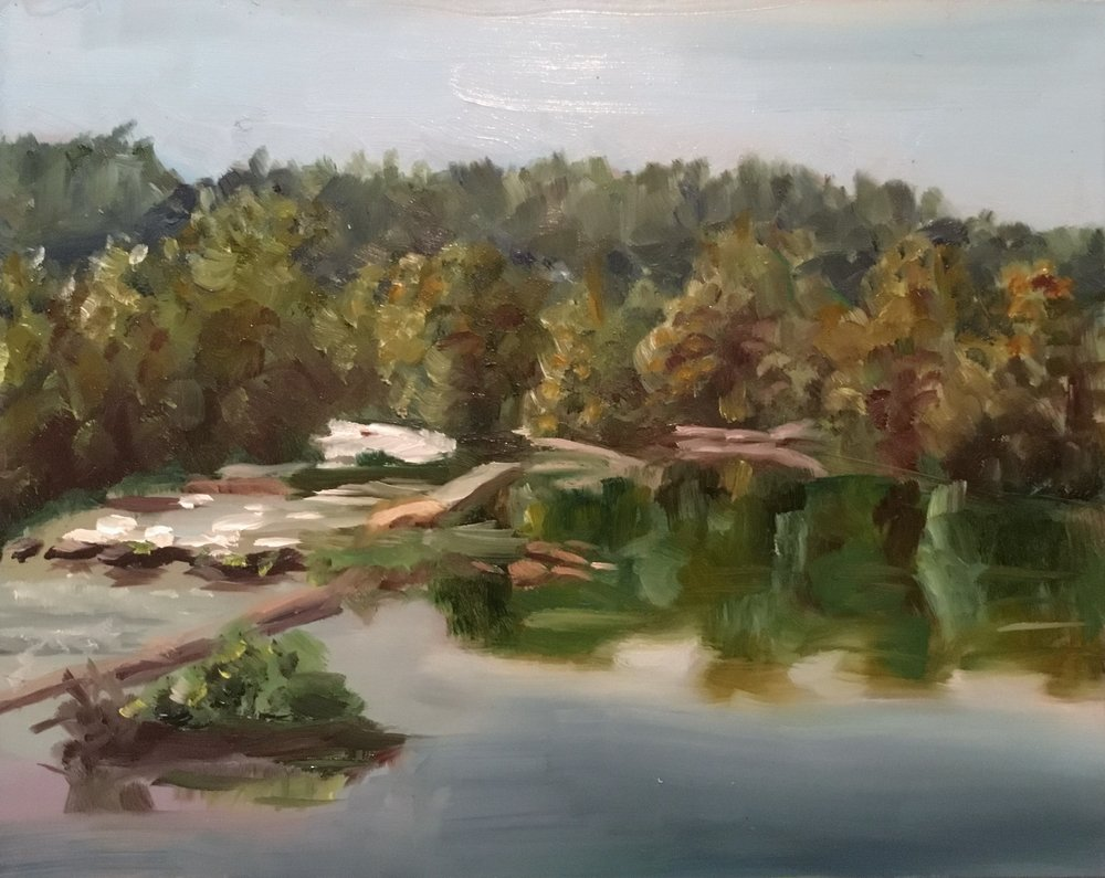 "Geoff Watson, ""Small Waterfalls on the Potomac,"" oil on panel, 8"" x 10"", 2017."