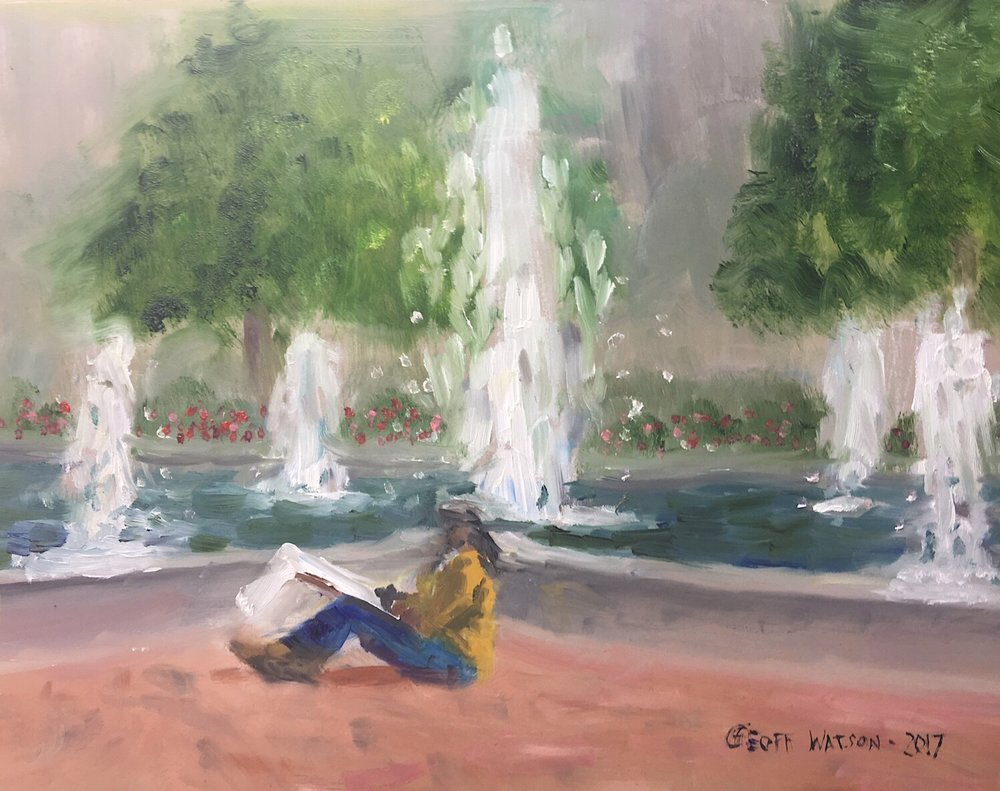 "Geoff Watson, ""Bronze Girl in Hubert Humphrey Park,"" oil on panel, 8"" x 10,"" 2017."