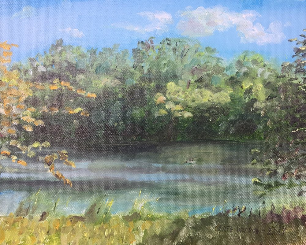 "Geoff Watson, ""The Potomac River, viewed from Swain's,Campground,"" oil on canvas panel, 8"" x 10,"" 2017."