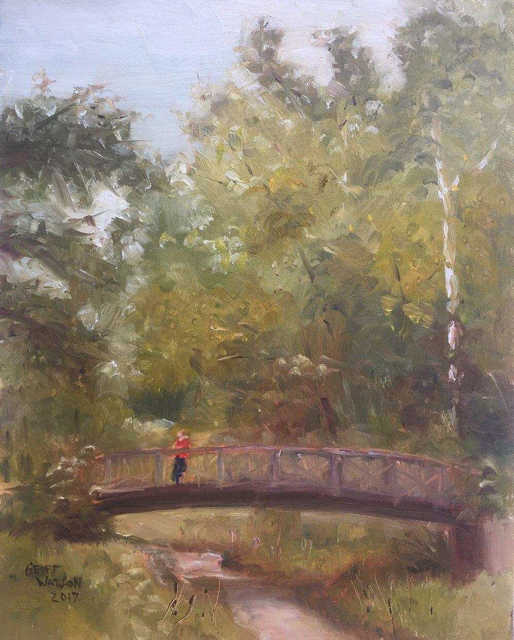 "Geoff Watson, ""Angler's Footbridge,"" oil on panel, 2017."