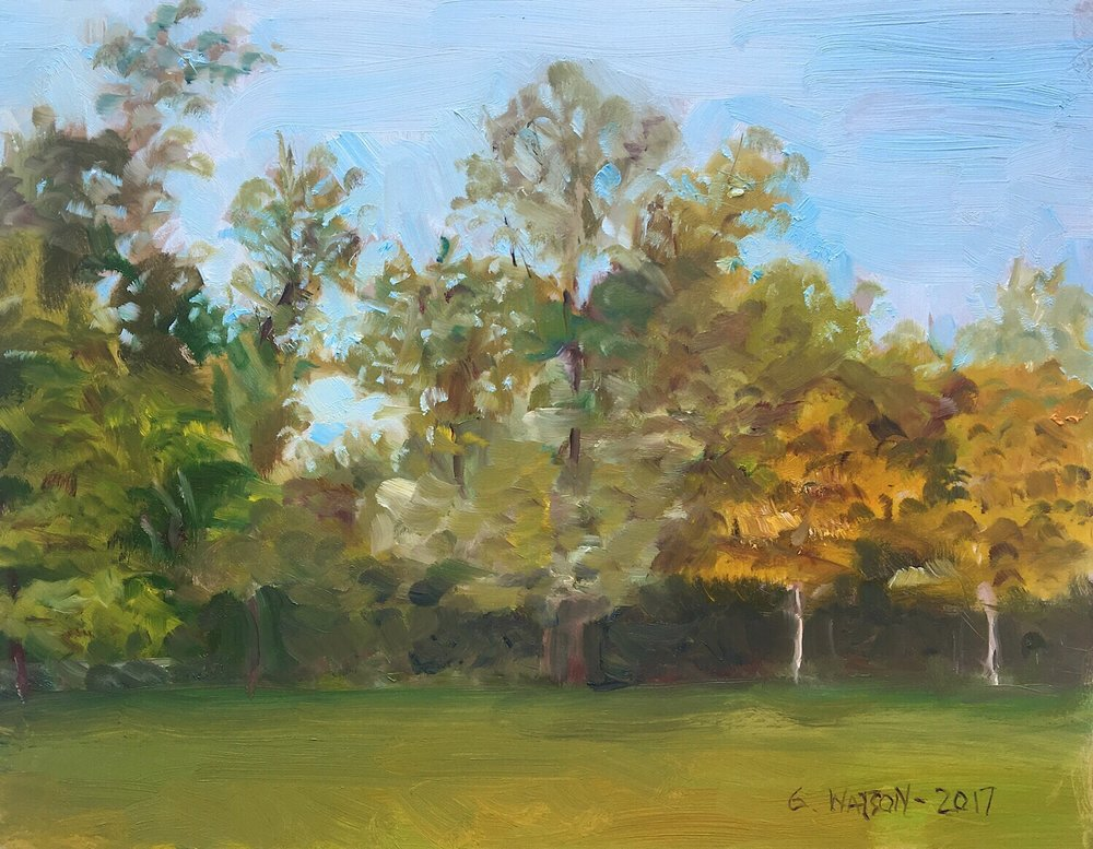 "Geoff Watson, ""Woodacres,"" oil on panel, 8"" x 10,"" 2017."