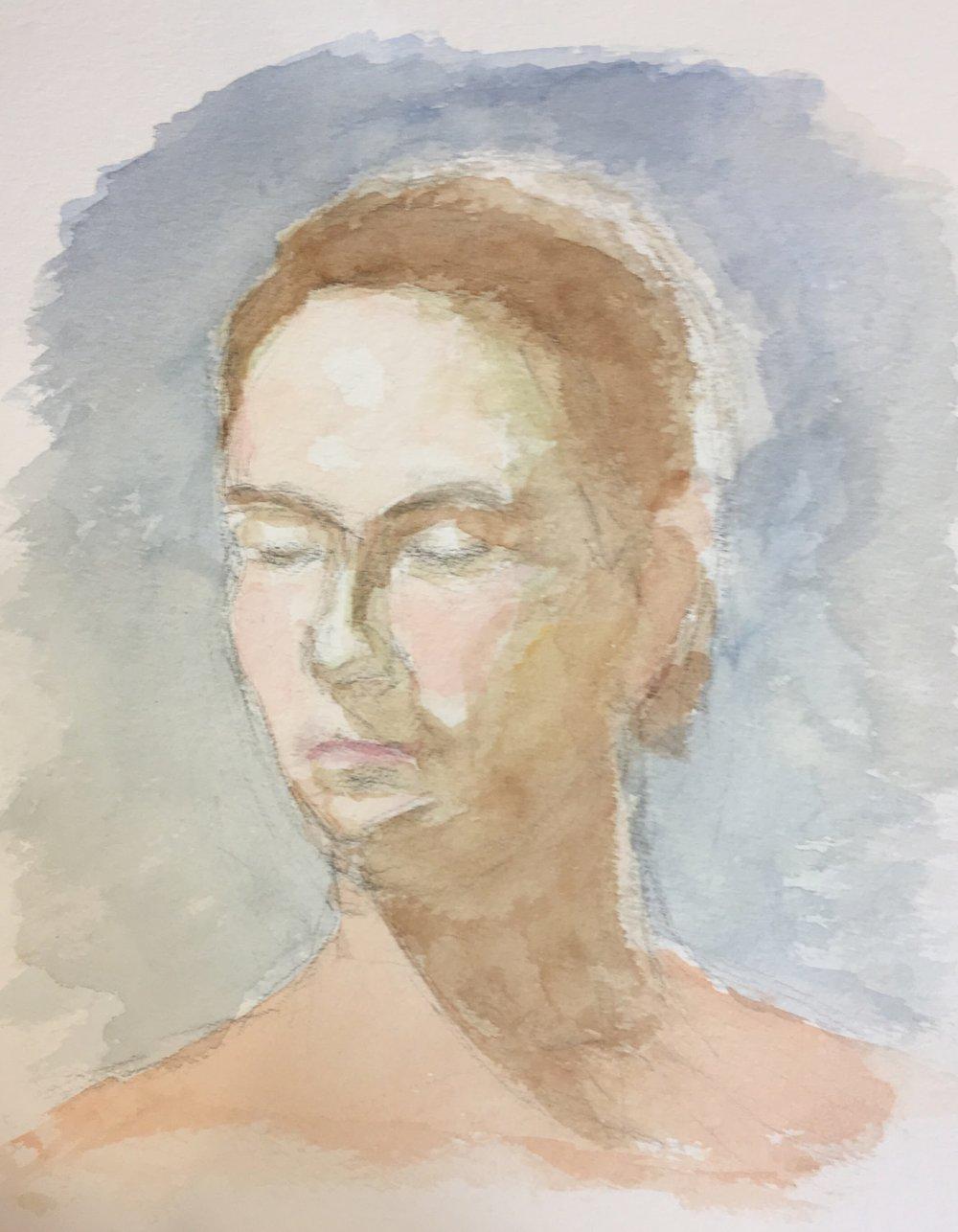 """Geoff Watson, """"Sheba,"""" work in progress, watercolor on paper, 12"""" x 16,"""" 2017."""