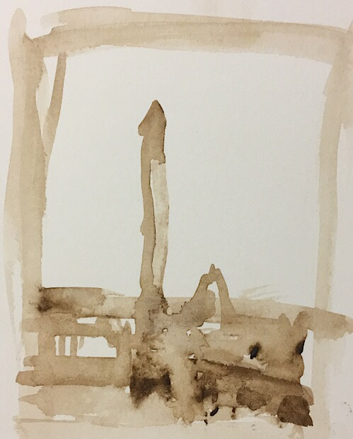 "Geoff Watson, ""Monument thumbnail 3,"" watercolor on paper, 2"" x 3,"" 2017."