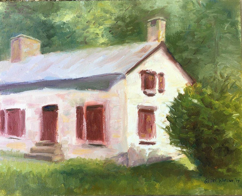 "Geoff Watson, ""Swains Lockhouse,"" oil on panel, 8"" x 10,"" 2017."