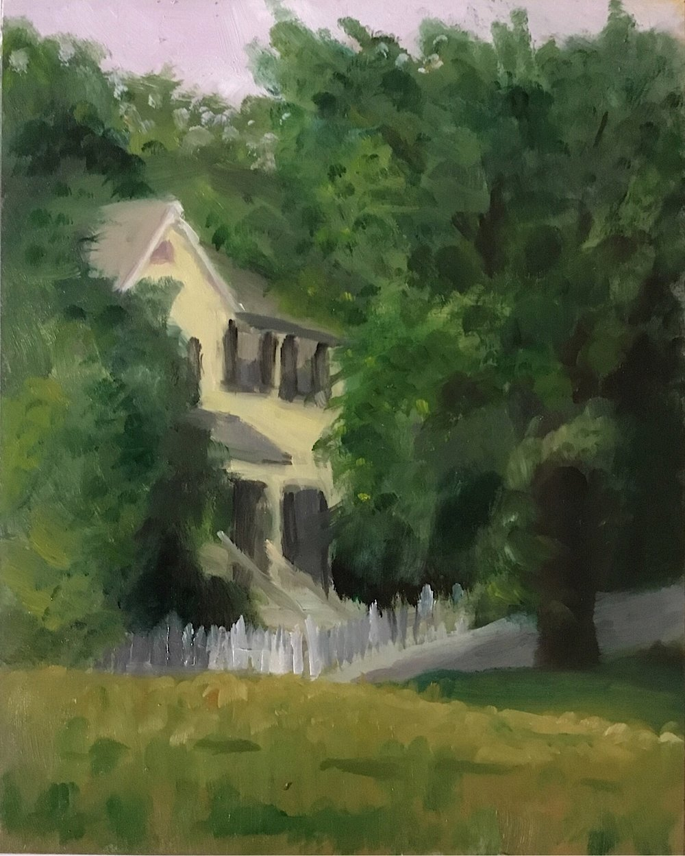 "Geoff Watson, ""House at Glen Echo,"" oil on panel, 8"" x 10,"" 2017."