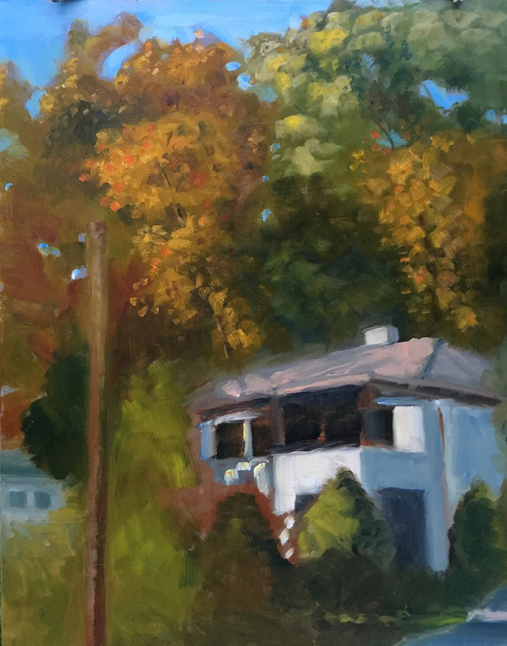 "Geoff Watson, ""House and Pole,"" work in progress, oil on panel, 16"" x 20,"" 2017."