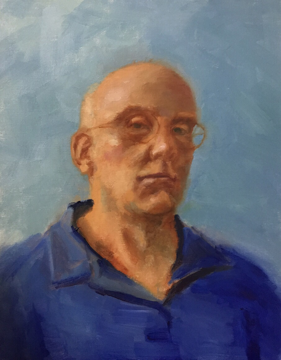 "Geoff Watson, ""Self-portrait,"" oil on canvas, work in progress, 14"" x 18,"" 2017."