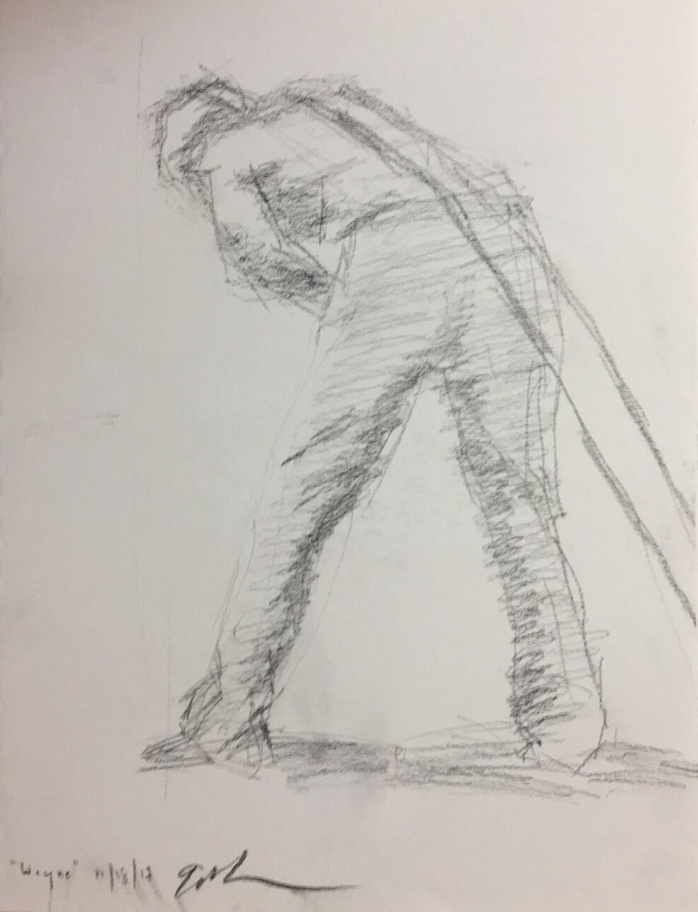"Geoff Watson, ""Hauling,"" carbon pencil on paper, 9"" x 12,"" 2017."