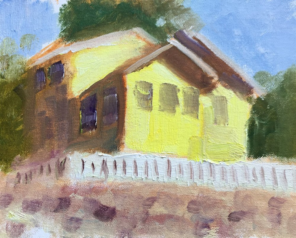 "Geoff Watson, ""House on MacArthur Boulevard,"" oil on canvas panel, 8"" x 10,"" 2017."