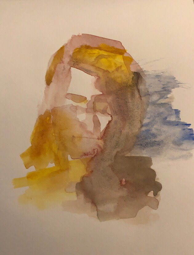 "Geoff Watson, ""Monica sketch,"" watercolor on paper, about 4"" x 6,"" 2017."