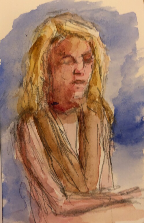 "Geoff Watson, ""Portrait sketch of Monica,"" watercolor and graphite on paper, 3"" x 5,"" 2017."
