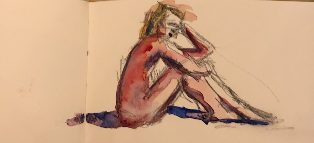 "Geoff Watson, ""Monica sitting,"" watercolor and graphite sketch on paper, 3"" x 5,"" 2017."