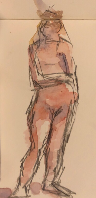"Geoff Watson, ""Sketch of Monica standing,"" watercolor and graphite on paper, 3"" x 5,"" 2017."