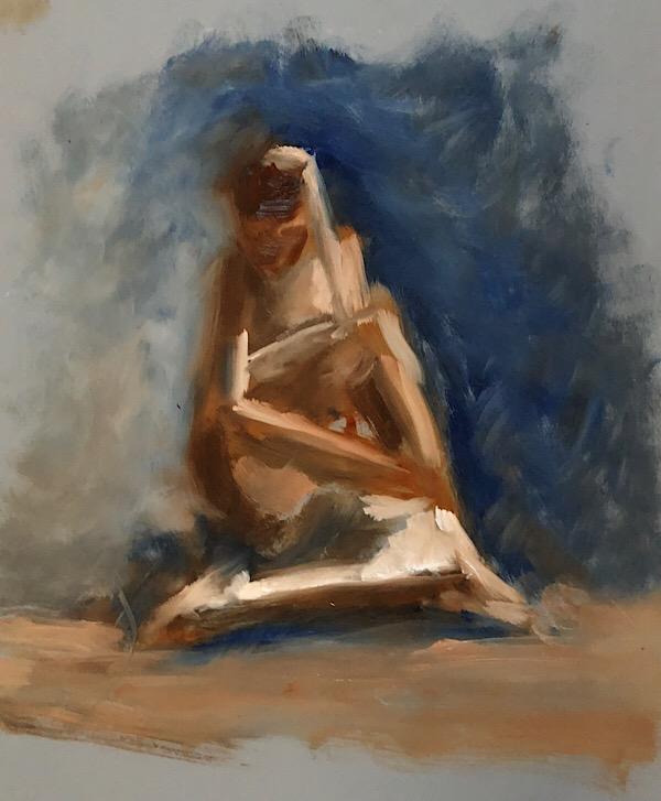 "Geoff Watson, Study, ""Legs crossed,"" oil on panel, 11"" x 14,"" 2018."
