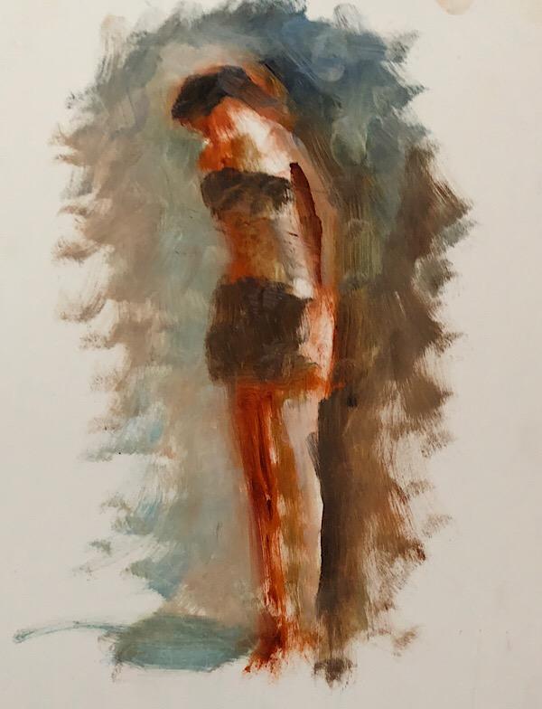 "Geoff Watson, Study, ""Standing,"" oil on panel, 11"" x 14,"" 2018."