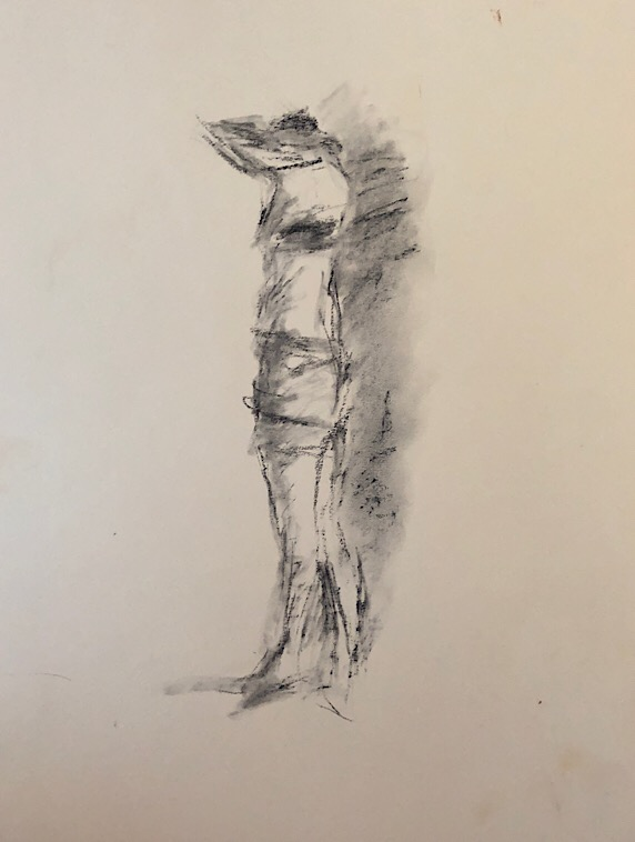 "Geoff Watson, ""Figure sketch using mass,"" charcoal on paper, 12"" x 16,"" 2018."