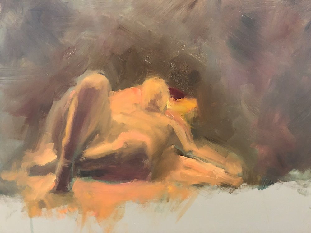"Geoff Watson, ""Reclining nude,"" work in progress, oil on panel, 12"" x 16,"" 2018."