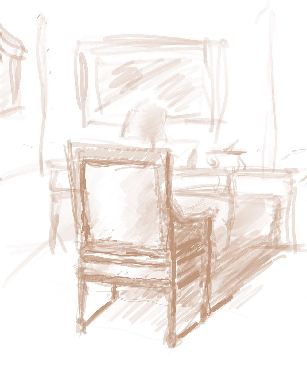"Geoff Watson, ""Anne's chair,"" iPad sketch, 2018."