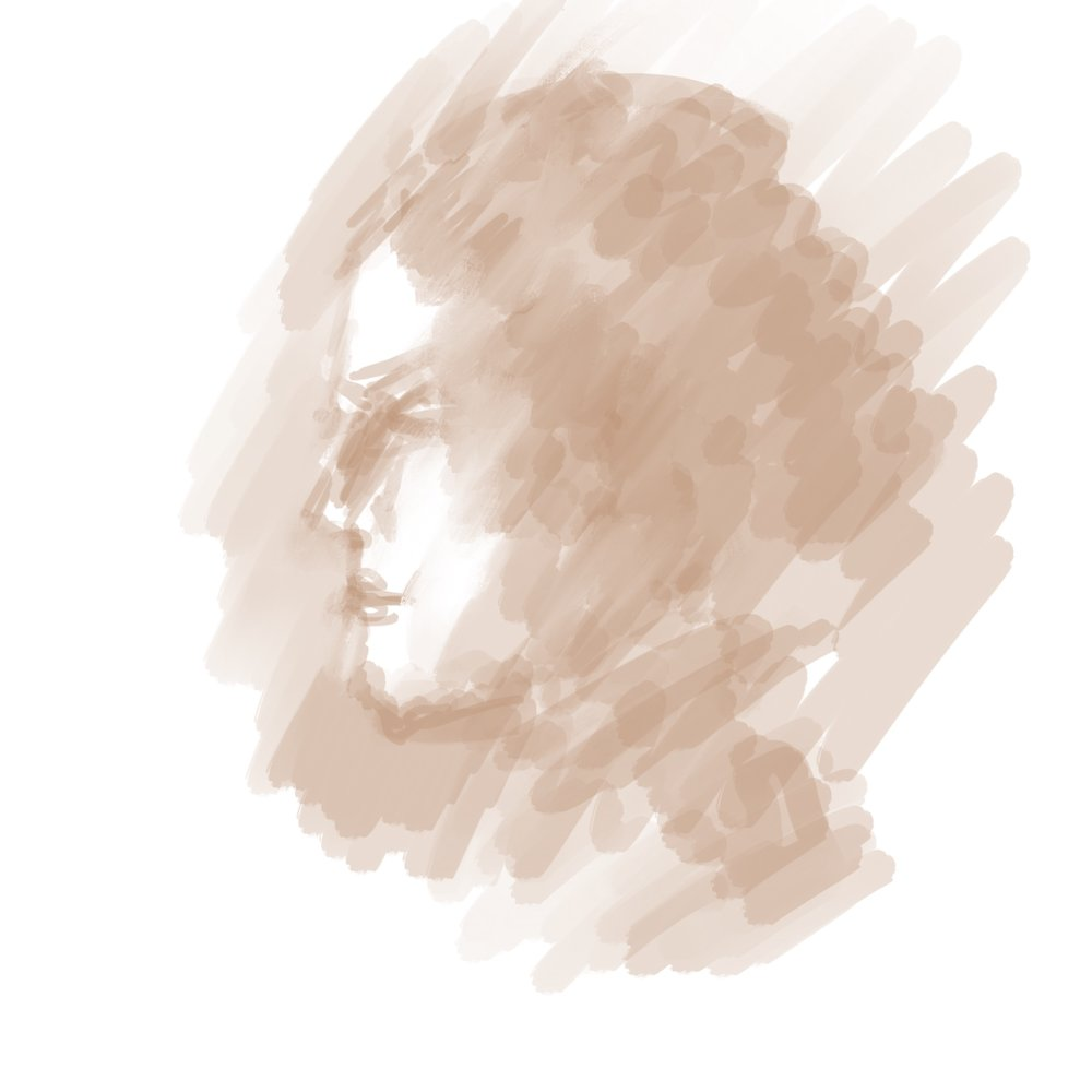 "Geoff Watson, ""Profile from imagination,"" iPad sketch, 2018."