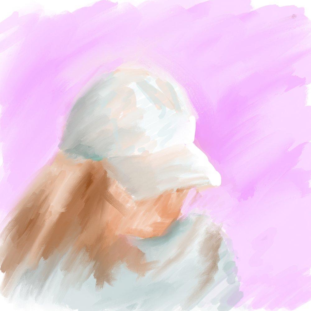 """Geoff Watson, """"Girl in Hat,"""" iPad sketch, 2018."""
