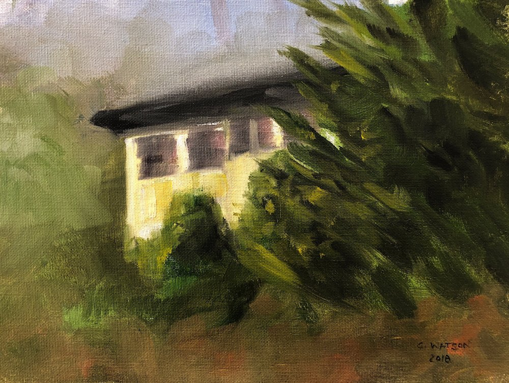 "Geoff Watson, ""House behind trees,"" oil on canvas, 9"" x 12,"" 2018."