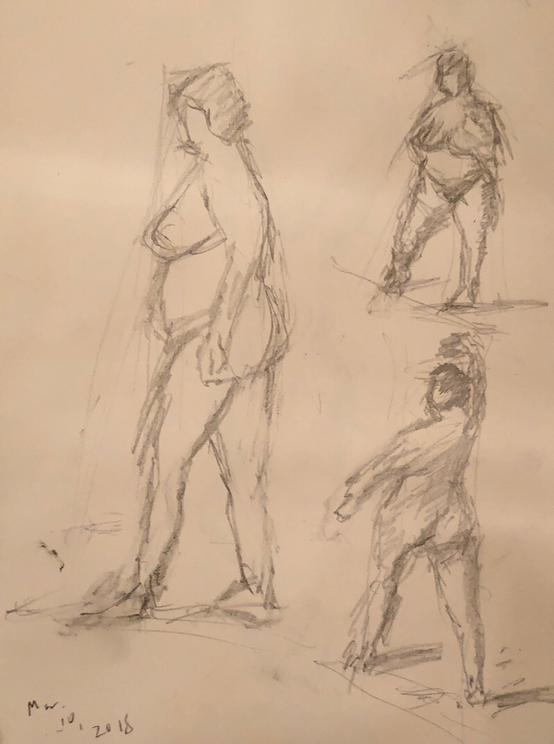 "Geoff Watson, ""Figure sketches,"" graphite on paper, about 12"" x 16,"" 2018."