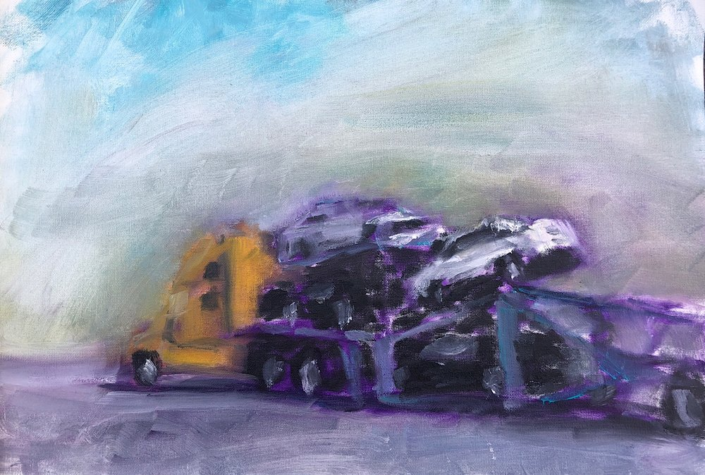 "Geoff Watson, ""Car Truck,"" oil on canvas pad, about 16"" x 20,"" 2018."