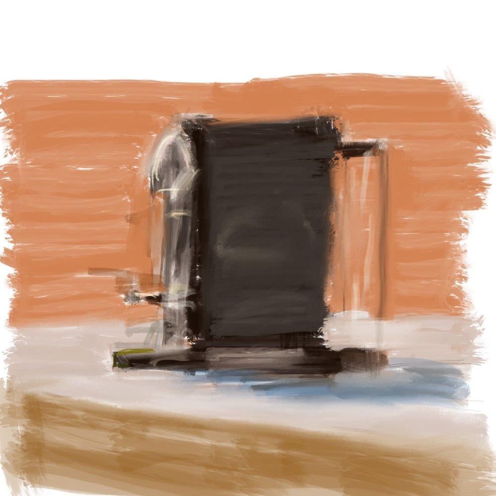 """Geoff Watson, """"Sketch of a coffee maker,"""" iPad, 2018."""