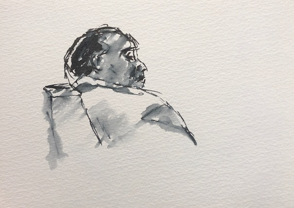 "Geoff Watson, ""Man at Mazza,"" ink and wash on paper, about 4"" x 6,"" 2018."