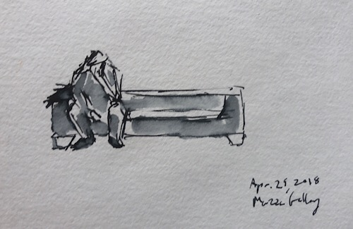 "Geoff Watson, ""Man on phone,"" ink and wash on paper, about 3"" x 5,"" 2018."