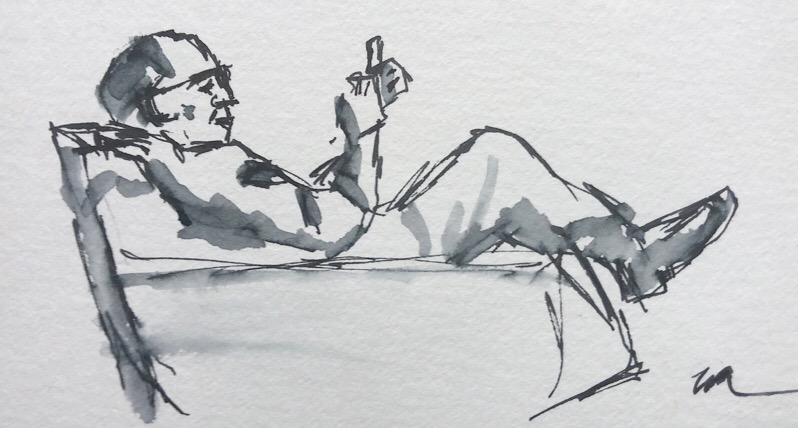 "Geoff Watson, ""Mazza phoning,"" ink and wash on paper, about 4"" x 6,"" 2018."